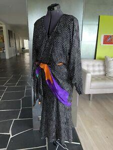 Vintage Silk Polka Dot Dolman Sleeve Lillie Rubin Blouson Midi Dress Size 10