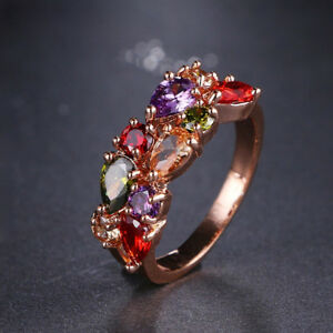 18k Rose Gold GP Band made w/ Swarovski Crystal Multicolor Stone Engagement Ring