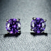 Sterling Silver Tanzanite & White Topaz Trillion-Cut Stud Earrings