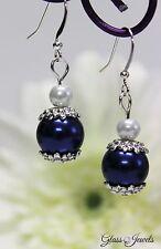 Glass Jewels Silber Ohrringe Ohrhänger Perlen Blau Weiß Oktoberfest #LA033
