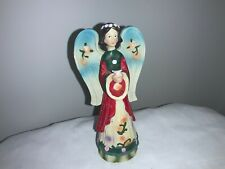 """Greenbrier Resin Standing Angel Holding a Flower Wood-like Finish 5 1/2"""" Tall"""