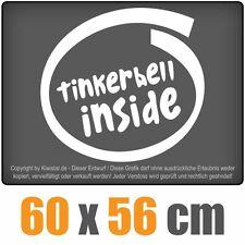 Tinkerbell inside  chf0440 weiß 60 x 60 cm Heckscheibenaufkleber chf