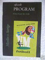 1958 World Cup MEXICO v SWEDEN, 8 June (Original*,Excellent*)