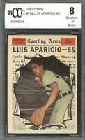 1961 topps #574 LUIS APARICIO AS chicago white sox BGS BCCG 8