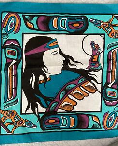 "Lot of 2 Southwest Native American Green Bandanas/Handkerchiefs w Coyote:22""x22"""