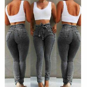 Women's High Waist Frayed Pants Jeans Slim Fit Stretch Fringed Belt Female