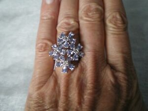 Tanzanite cluster ring, 3.22 carats, size L/M, 6.51 grams of 925 Sterling Silver