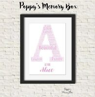 Personalised Alphabet Letter Boy Girl New Baby Christmas Word Art Nursery Gift