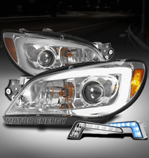 FOR 06-07 SUBARU IMPREZA WRX LED CHROME PROJECTOR HEADLIGHTS LAMP W/BLUE DRL KIT