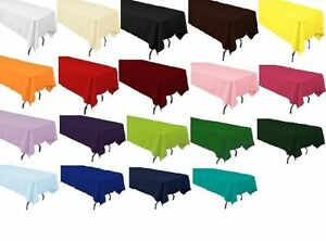 "12 packs  60"" x 126"" Inch RECTANGLAR Polyester Tablecloths Hotel 25 COLORS USA"
