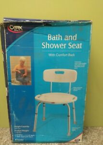 CAREX BATH & SHOWER CHAIR SEAT WITH BACK WHITE DISTRESSED BOX NEW