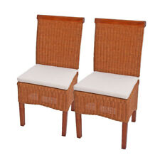 2x Esszimmerstuhl Korbstuhl Rattanstuhl Stühle Stuhl Rattan mit Sitzkissen 12404
