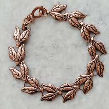 Vintage Southwestern Copper Double Leaves Leaf Link Bracelet with Sister Lock
