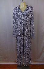 Alfani Sleepwear, Animal Print Knit Rayon Pajama Set Black, White XS #1489
