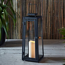 Black Metal Solar Powered Led Weatherproof Outdoor Flameless Candle Lantern