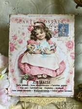 Victorian Girl with Doll, Shabby Chic, Pink Roses, Sign / Plaque