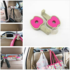 2 Pcs Car Seat Headrest Stand Pink Apple Hooks For Shopping Bag Clothes Grocery