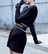 BALMAIN noir froncé tulle et robe en soie fr 40 uk 10