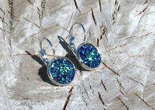 SPARKLING DRUZY RESIN PEACOCK BLUE ROUND LEVER BACK SILVER EARRINGS 12MM