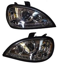 FREIGHTLINER  COLUMBIA  96-2013 PROJECTOR CHROME HEADLIGHT SET PAIR WITH LED