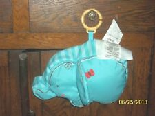 T6339 FISHER PRICE AQUA BLUE ELEPHANT PLUSH BROWN POLKA DOT BACK