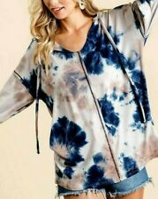 Tie Dye Hoodie Top Super Soft Raw Seam Detail Taupe  Blue S M L XL