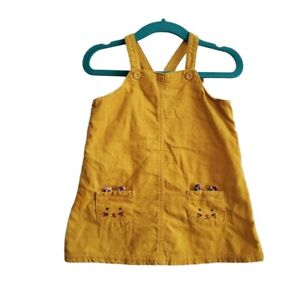 Carter's Baby Size 12 Months Marigold Bunny Pocket Corduroy Jumper Dress Yellow