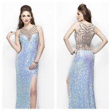 Primavera Couture Blue Iridescent Prom Dress Size 6 Open Back Autentic
