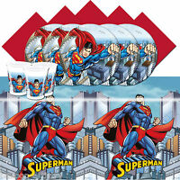 DC Comic RED Superman Children's Birthday Party Complete Tableware Pack For 16