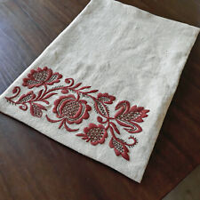 Pillowcase Gray Linen Flower Embroidery Vintage Pillow Case Cushion Cover 18x13