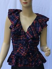 Ralph Lauren Ruffle Neck Womens Shirt 10 Blue Red White Cotton