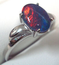 Australian Opal Ring For Sale Natural Black Triplet Opal Ring Sterling Silver