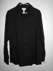 NWT CONCEPTS BY CLAIBORNE WOVEN LONG SLEEVE BUTTON FRONT SHIRT LARGE