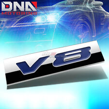 ALUMINUM STICK ON 3D POLISHED BLUE LETTERING V8 DECAL EMBLEM TRIM BADGE LOGO