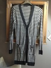River Island grey and ecru stripy long cardigan UK S/M
