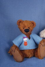 "Deb Canham SOLD OUT ""Stodge"" Brown mohair bear w/ blue shirt with duck on shirt"