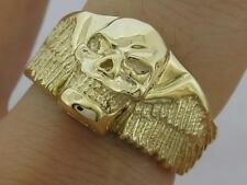 MR25 Genuine 9K SOLID Yellow Gold Detailed Winged Skull Biker Ring size 10 T 1/2