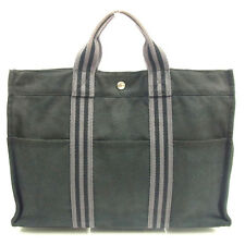 Hermes Tote bag Fourre Tout Black Grey Woman unisex Authentic Used T230
