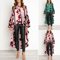 Women Printed Long Shirt Floral High Low Top Long Sleeve Asymmetric Blouse Tee