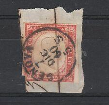 FRANCOBOLLI 1860 SARDEGNA 40 C. ROSSO CARMINATO GENOVA 7/12 D/856