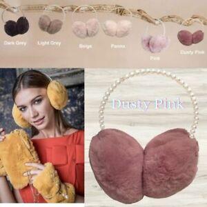 Alex Max Premium Luxurious Pearl Hairband Ear Muff - Dusty Pink