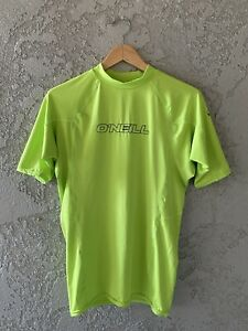O'Neill Men's Rash Guard UPF 50+ Short Sleeve Sun Shirt Large Lime Green EUC