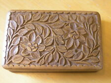 """Antique Hand Carved Wooden Hinged Lined Two Compartment Vanity Box 8x5x2.5"""""""