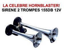 SUPERBE KLAXON HORNBLASTER 12V 2 TROMPES ***155db*** ! CORNE DE BRUME LOCOMOTIVE