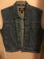 Harley Davidson Mens Denim Vest Jacket SZ L Big Logo On back