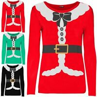 Womens Christmas Santa Claus Costume Ribbon Suit Ladies Long Sleeve T Shirt Top