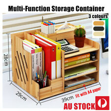 DIY Office Desktop Wooden File Holder Pen Organiser Case Storage Box XMAS GIFT