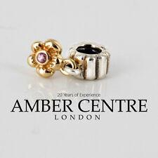 PANDORA Silver/14ct Gold  Pink Sapphire Dangle Flower Charm 790372PSA RRP£175!!