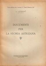 Vergano - Documenti per la Storia Astigiana - Regesto - 1944 Tipografia Moderna