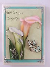 "Sympathy Handmade card  3D "" White Lillies"""